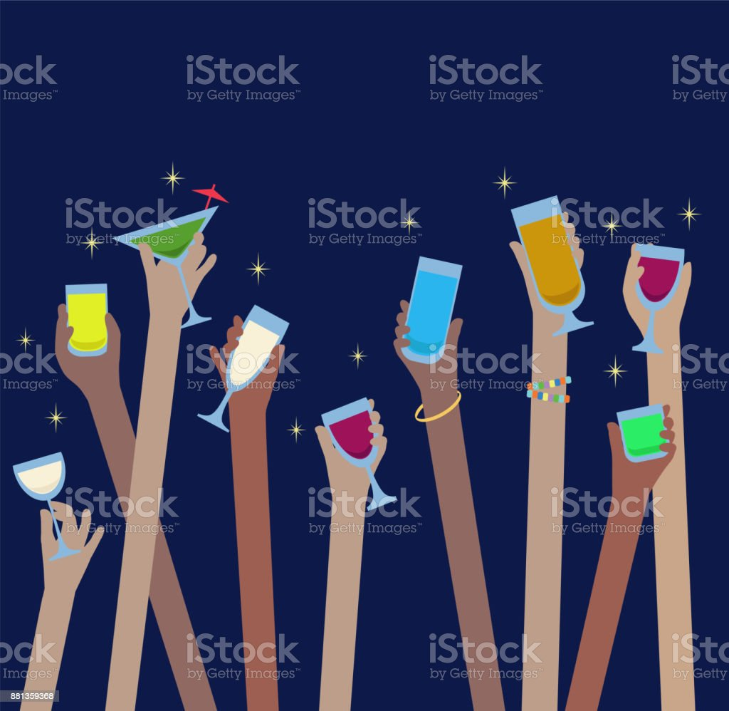 Hands with drinks of alcohol in glasses celebrate at Party - illustrazione arte vettoriale