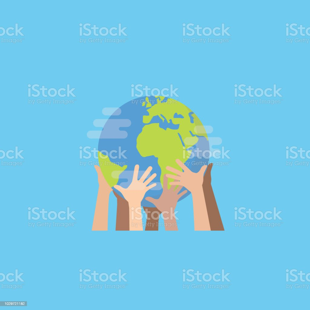 Hands with earth, Multiethnic People's hands holding the globe, peace day - Royalty-free Amizade arte vetorial