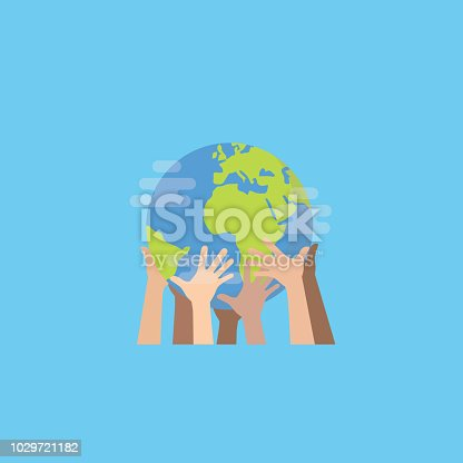 istock Hands with earth, Multiethnic People's hands holding the globe, peace day 1029721182
