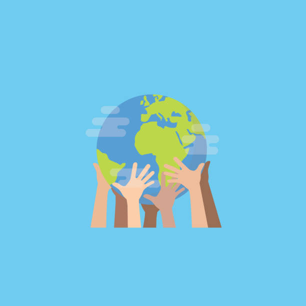 illustrazioni stock, clip art, cartoni animati e icone di tendenza di hands with earth, multiethnic people's hands holding the globe, peace day - terra
