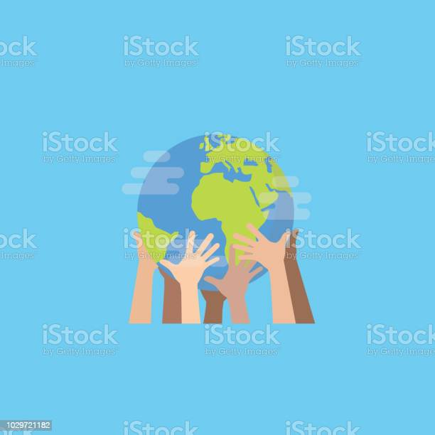 Hands With Earth Multiethnic Peoples Hands Holding The Globe Peace Day - Arte vetorial de stock e mais imagens de Amizade