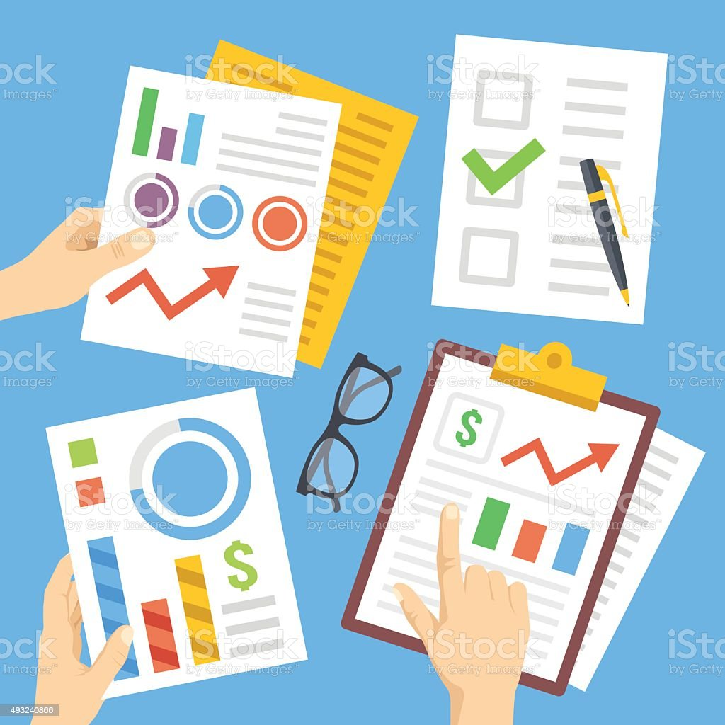 Hands with financial documents, papers, financial charts, reports. Flat illustration vector art illustration