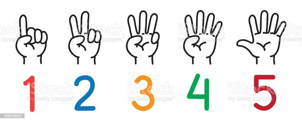 Cartoon Characters 3 Fingers : Manos con los dedos icono para contar educación arte