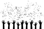 Hands with flying up notes . Vector isolated decoration element from scattered silhouettes. Conceptual illustration of group community and social organization.