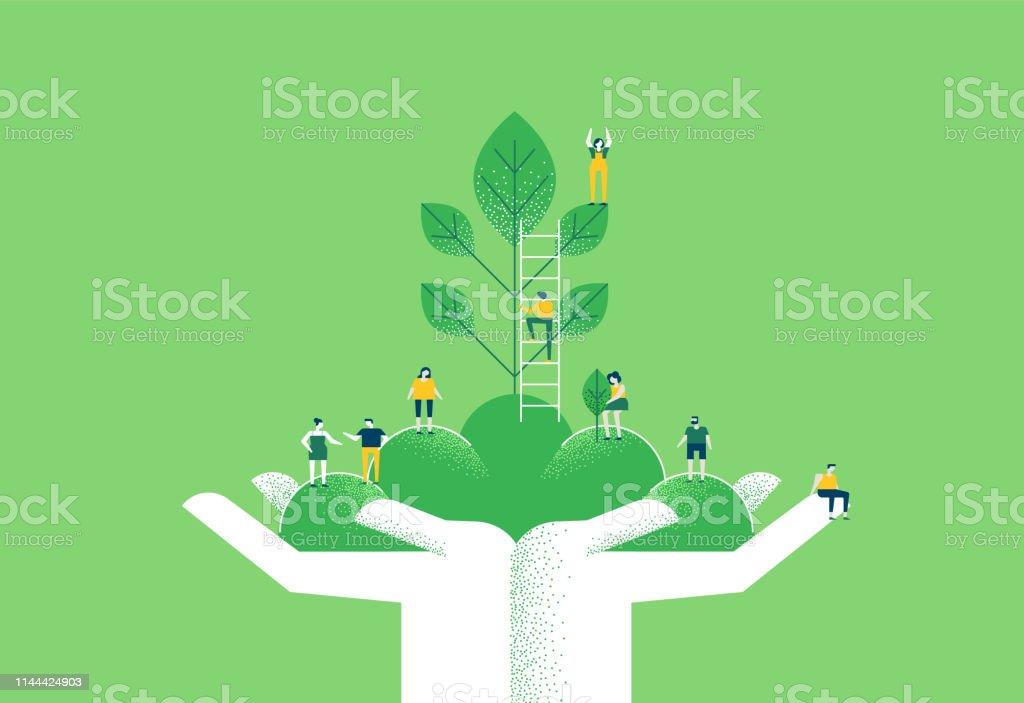 Mains Avec La Plante Verte Et Les Personnes Pour Laide De