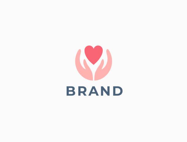 bildbanksillustrationer, clip art samt tecknat material och ikoner med händer med hjärt logotyp. kärlek, omsorg, dela, välgörenhet, medicin symbol. alla hjärtans dag logotyp. abstrakt medicinsk hälsa logotyp. stiftelsens logotyp. - omsorg