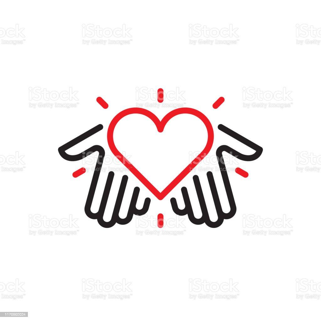 Hands with heart logo - Royalty-free Amizade arte vetorial