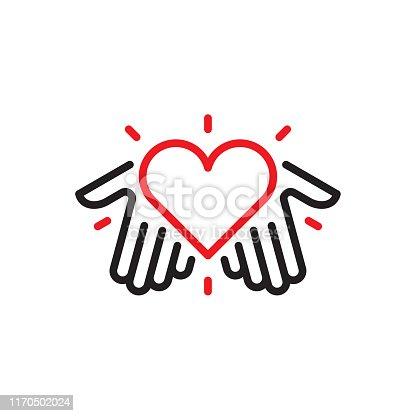 istock Hands with heart logo 1170502024