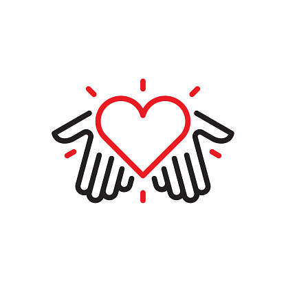 Hands with heart logo clipart