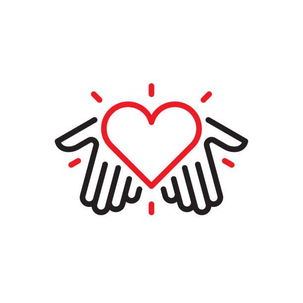 ręce z logo serca - nadzieja stock illustrations
