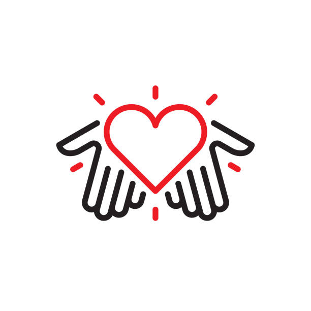 Hands with heart logo Vector illustration. Vector EPS 10, HD JPEG 4000 x 4000 px positive emotion stock illustrations
