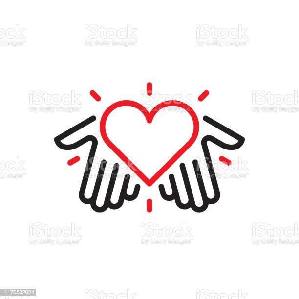Hands With Heart Logo - Arte vetorial de stock e mais imagens de Amizade