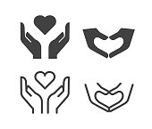 istock Hands with Heart Shape - Illustration Icons 1262632485