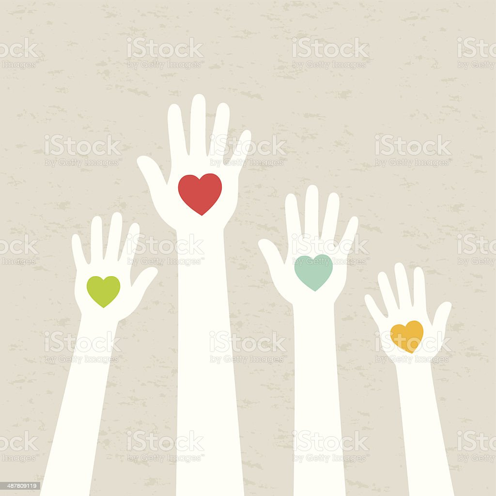 Hands with hearts vector art illustration