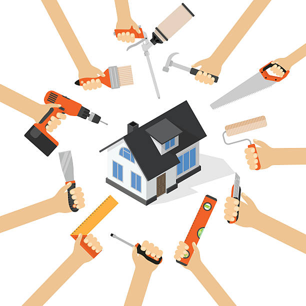 ilustrações, clipart, desenhos animados e ícones de hands with home repair diy renovation housework tools - trabalhador em casa