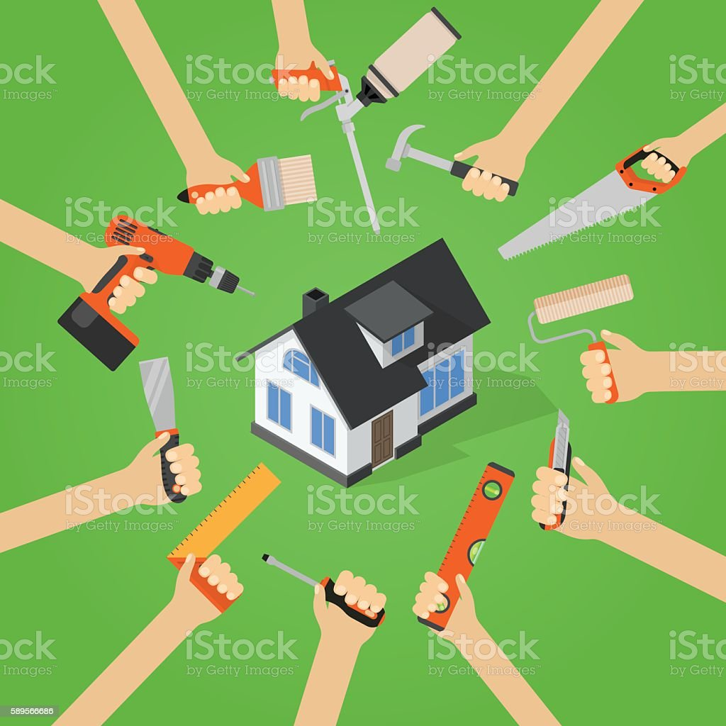 Hands with home repair diy renovation housework tools vector art illustration