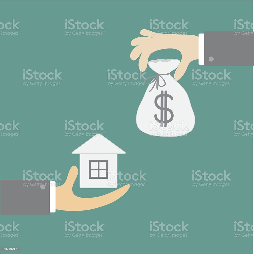 Hands with house and money bag. Exchanging concept. Flat design vector art illustration