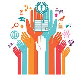Hands with icons of education and technology, Education Online, education icons, set of design icons for education. Some icons show a microscope, a atom, a globe, some geometric figures, a electric light, a university shield, a trophy, a book, global communication. Communication abstracts, Media, Social Networking, seo, digital marketing,digital communication. Concept. Very easy to manipulate, elements are on different layers. Vector illustration - EPS (version 10) file.