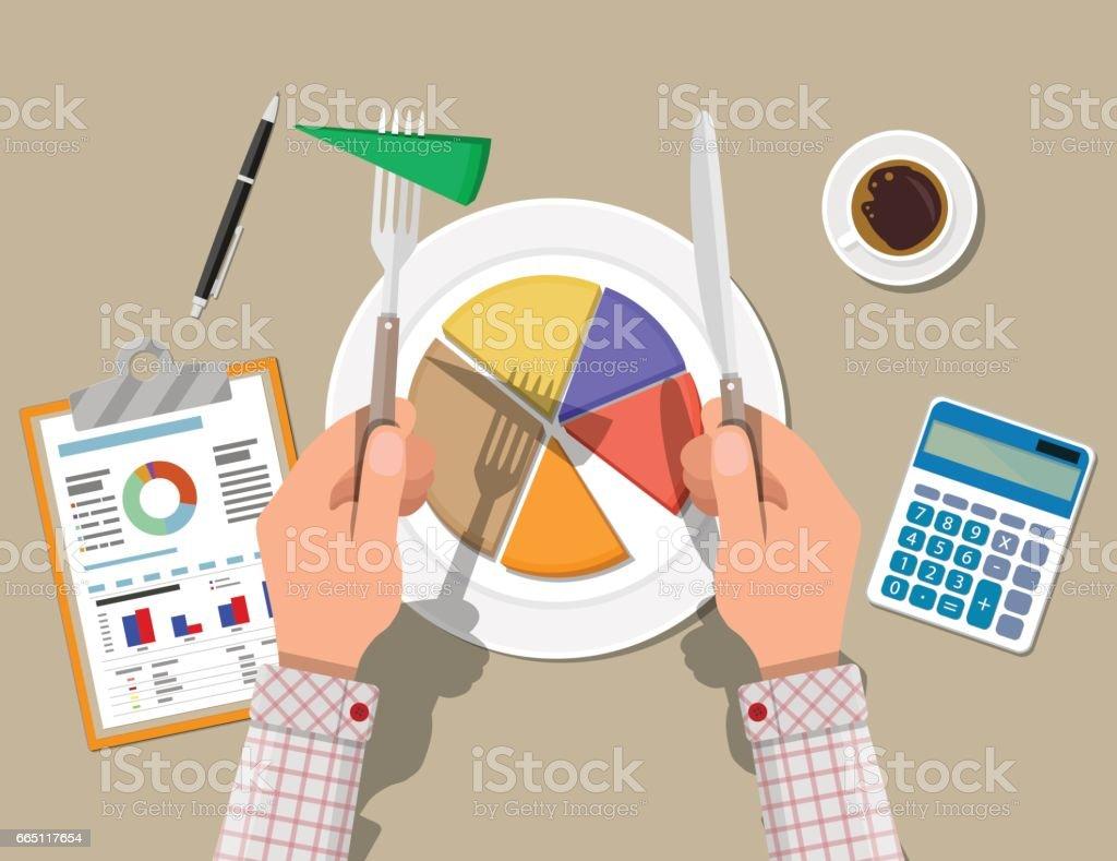 Hände mit Messer und Gabel geschnitten Diagramm Torte Frieden - Lizenzfrei Abstrakt Vektorgrafik