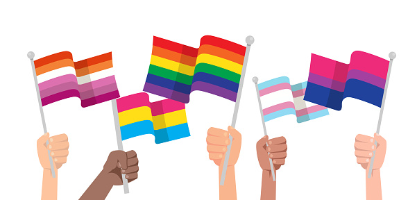 Hands with LGBTQ flag isolated on white background.