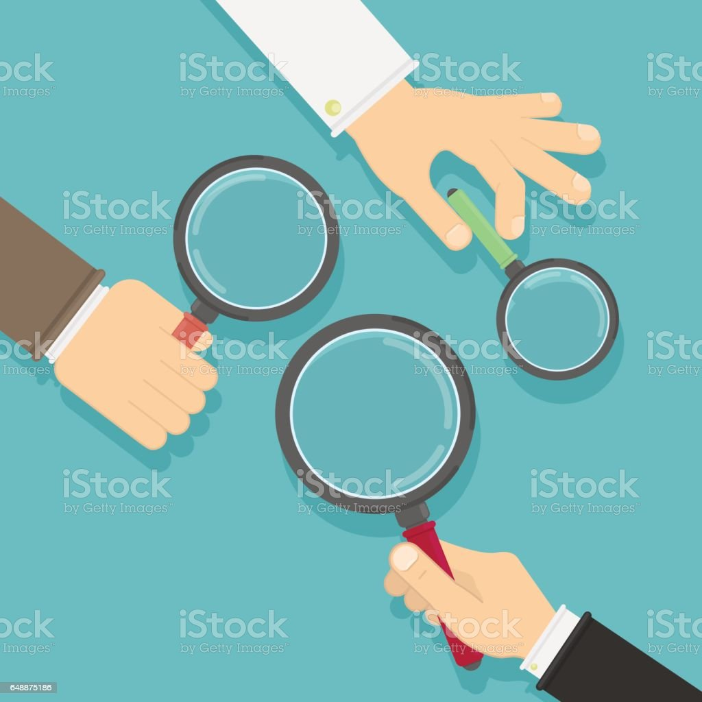 Hands with magnifying glass. vector art illustration