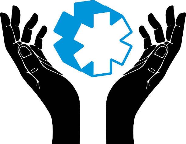 Royalty Free Hands With Medical Symbol Vector Emblem Clip Art