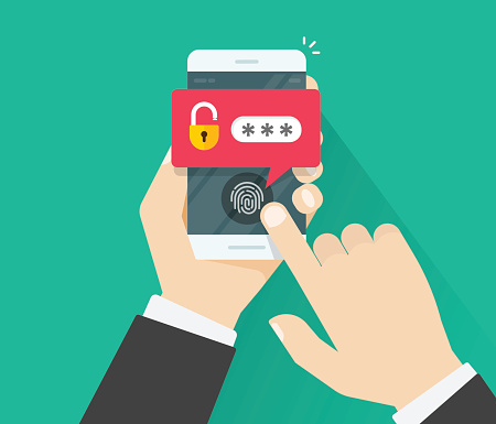 Hands with mobile phone unlocked with fingerprint button and password notification vector