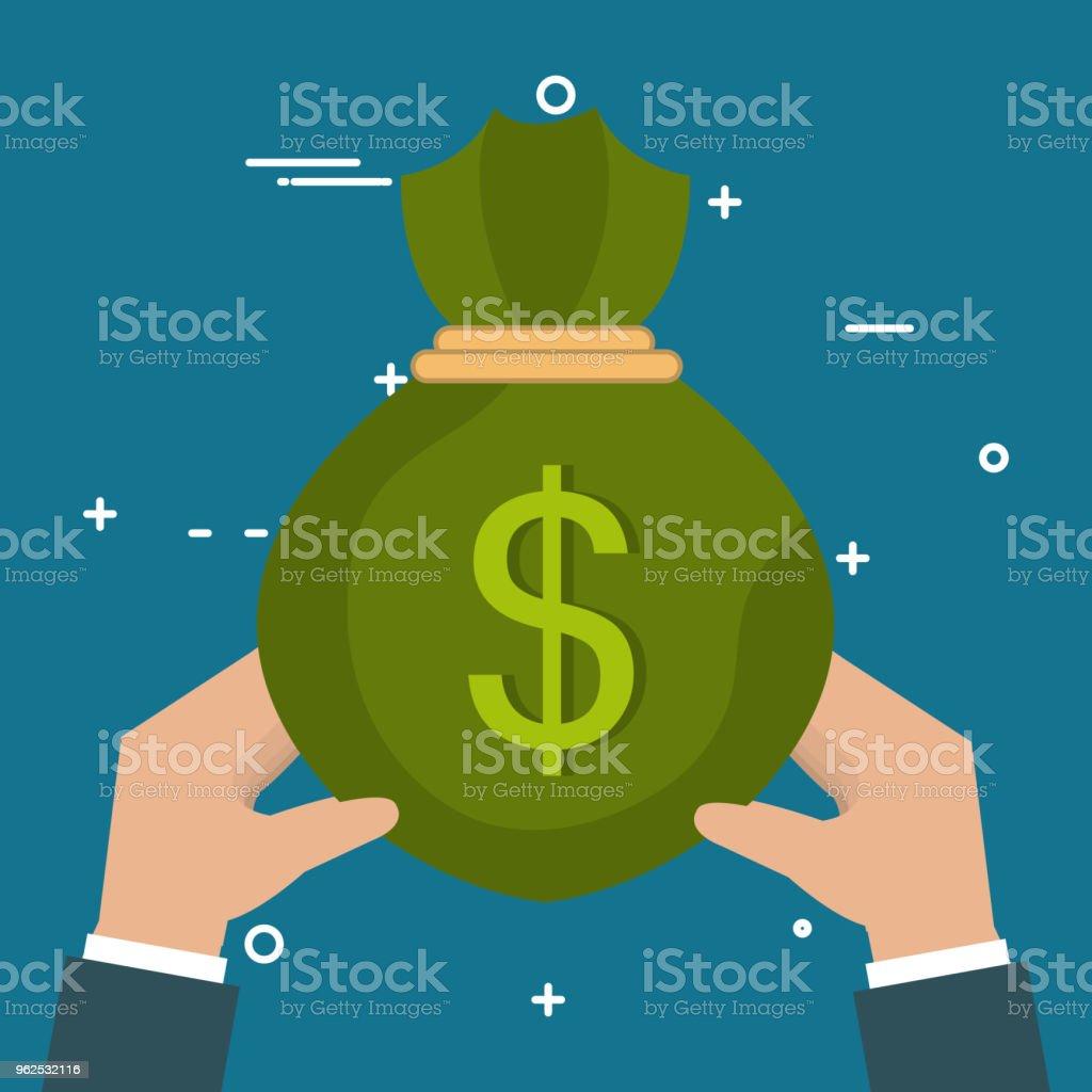 hands with money bag - Royalty-free Antiquities stock vector