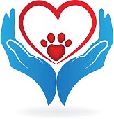 Hands with paw print love heart of a pet icon vector
