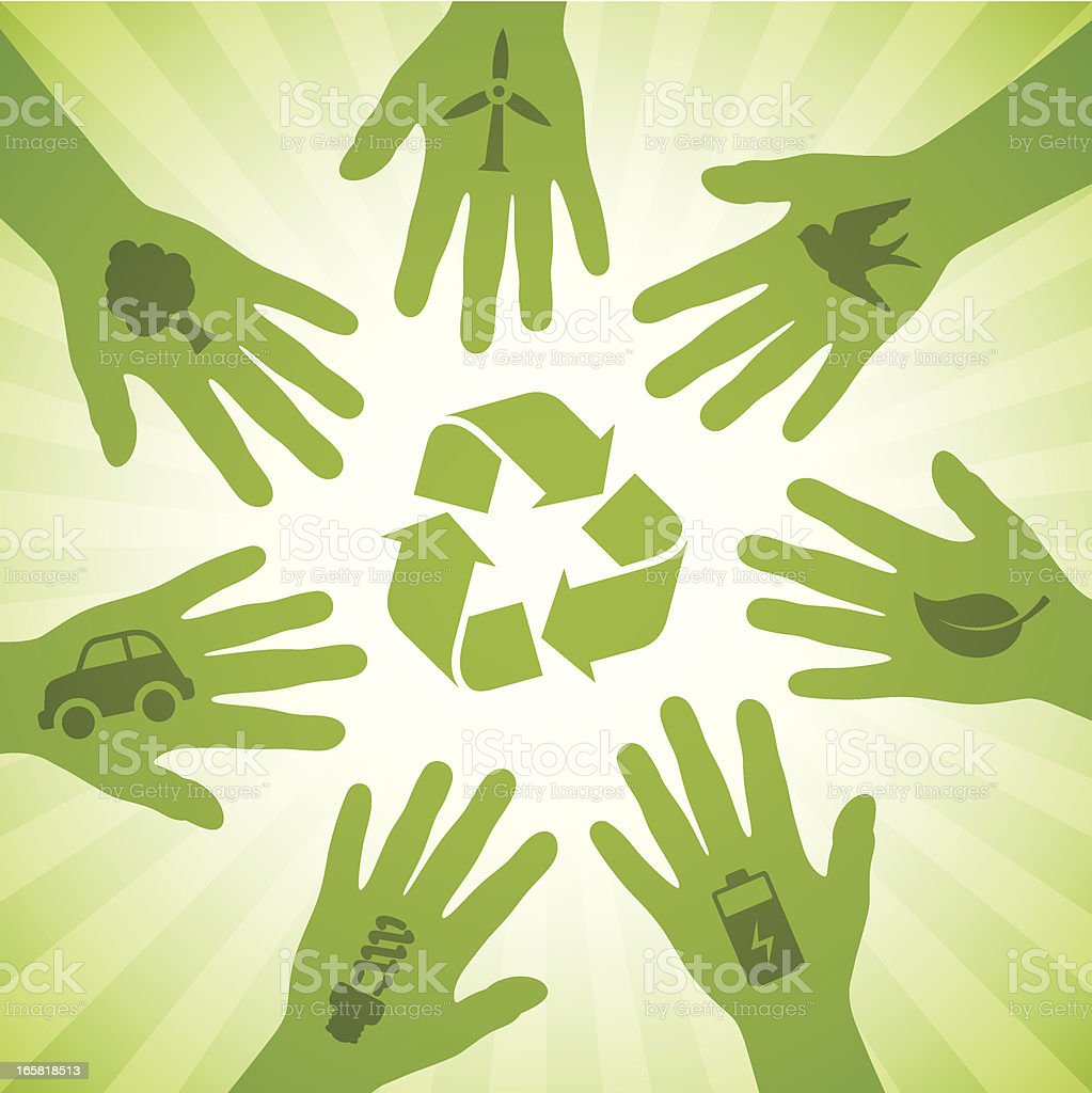 Hands with recycling symbols royalty-free hands with recycling symbols stock vector art & more images of car