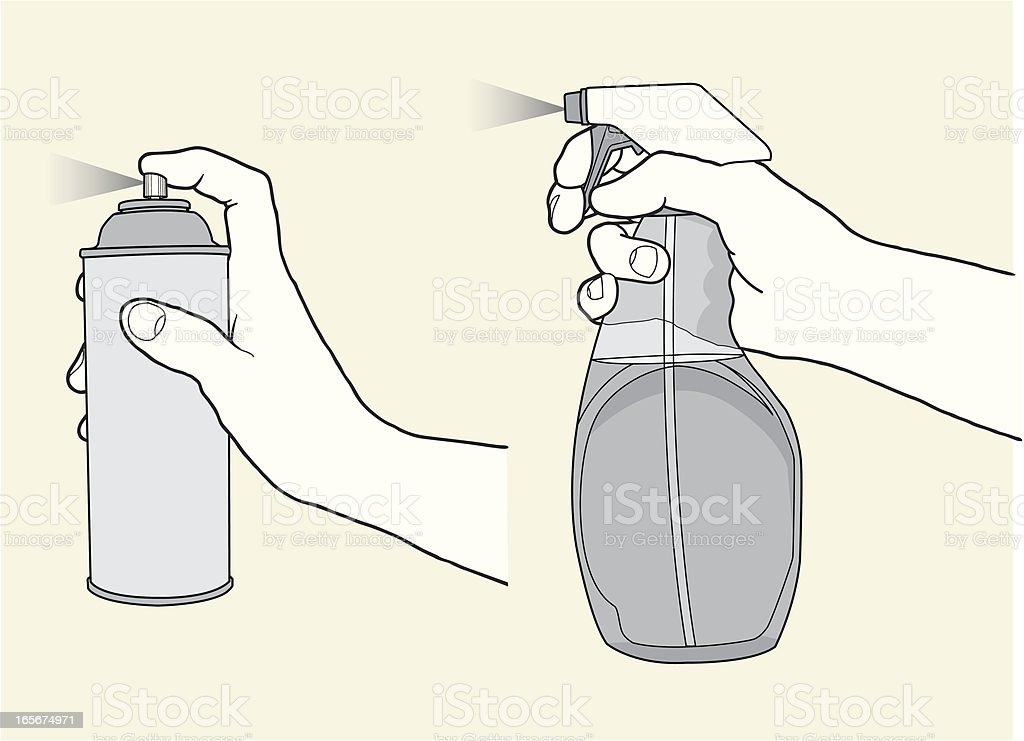 Hands With Sprayers royalty-free stock vector art