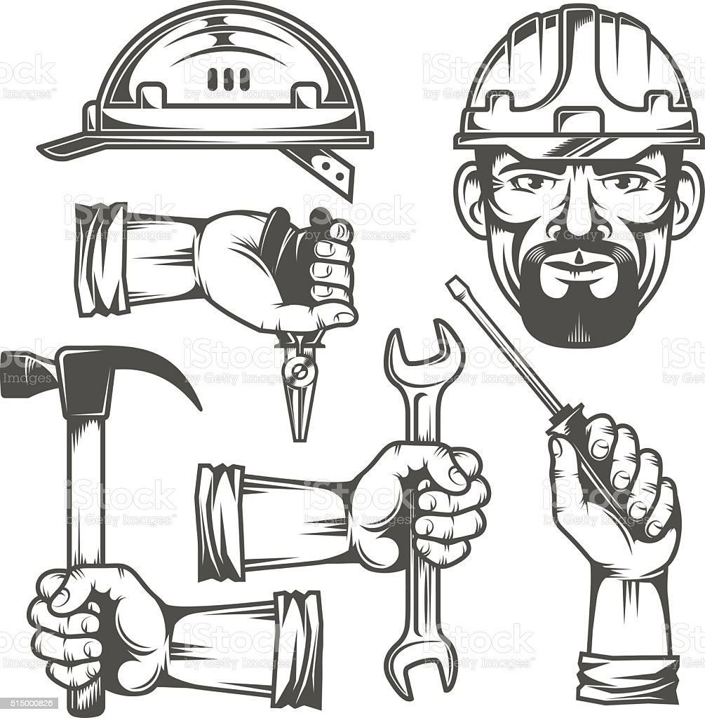 Hands with tools vector art illustration