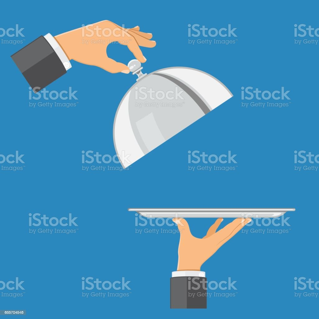 hands with tray and cover vector art illustration