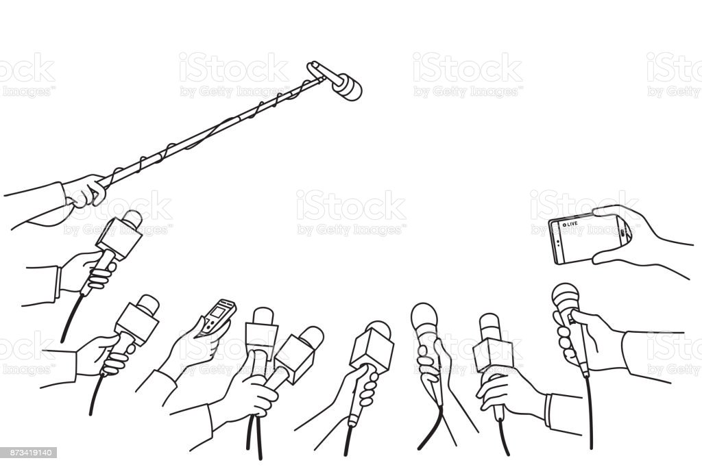 Hands with various microphones vector art illustration