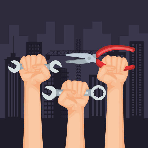 hands with wrenches and pincers to labour day - may day stock illustrations, clip art, cartoons, & icons