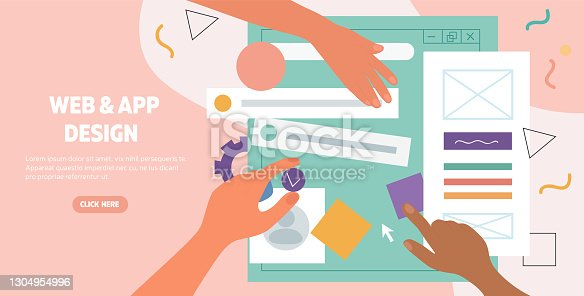 istock Hands working on a web page and app design 1304954996