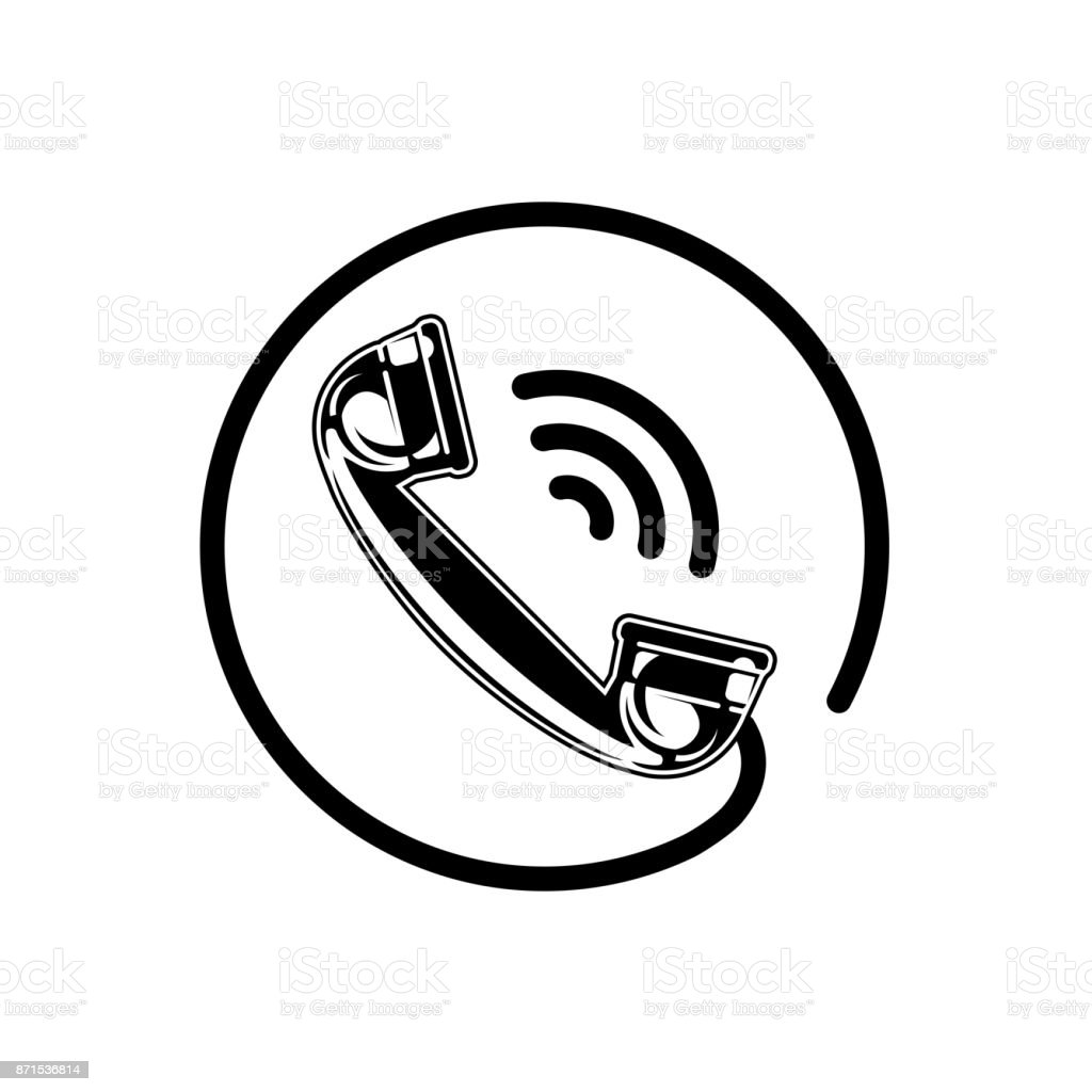 Handset Icon With Waves Phone Icon Telephone Symbol For Logo Stock