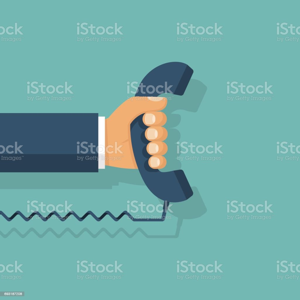 Handset in hand. Holding telephone vector art illustration