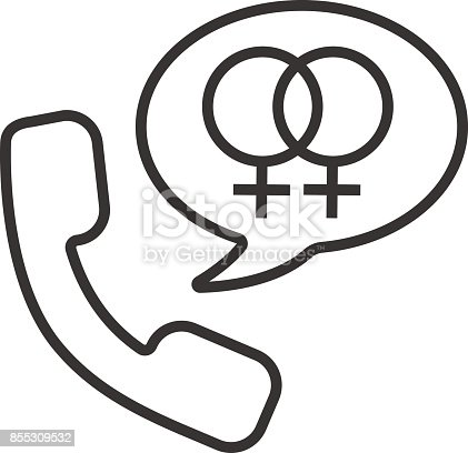 Handset With Interlocked Woman Signs Inside Speech Bubble Linea ...