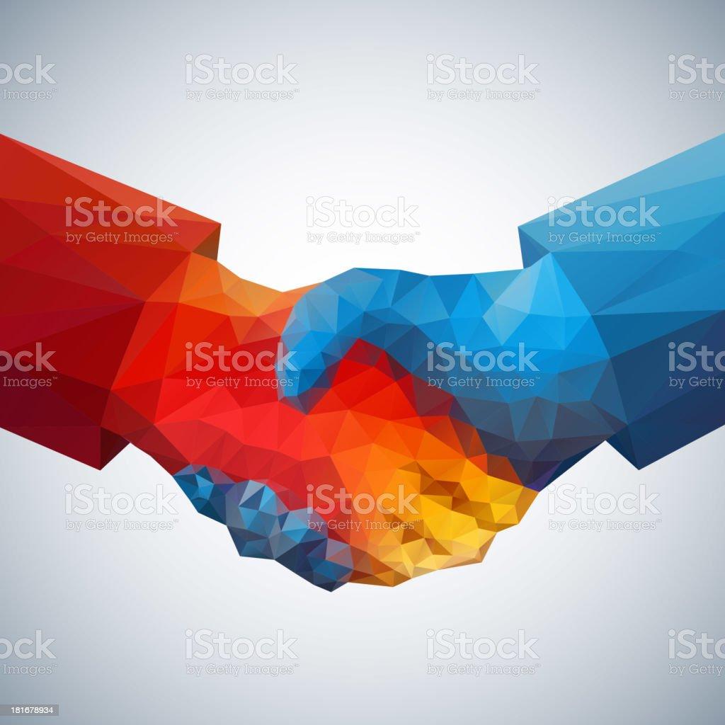 Handshake abstract art vector art illustration