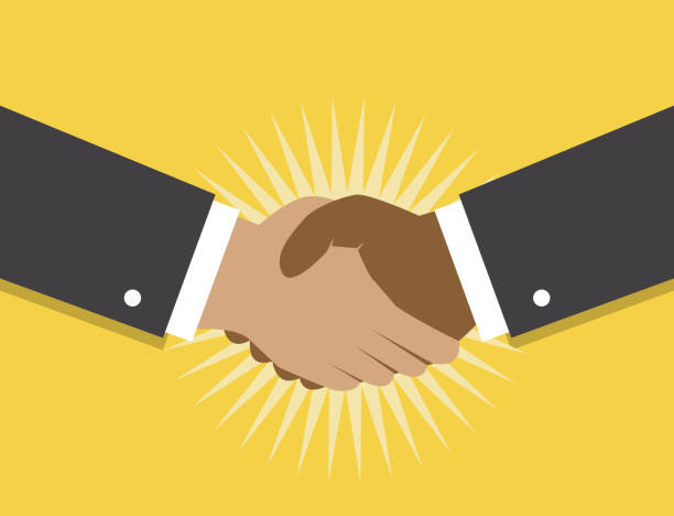handshake and cooperation - hand shake stock illustrations, clip art, cartoons, & icons