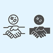 Handshake and virus line and solid icon. 2019-nCoV disease prevention outline style pictogram on white background. Coronavirus spread by hands for mobile concept and web design. Vector graphics