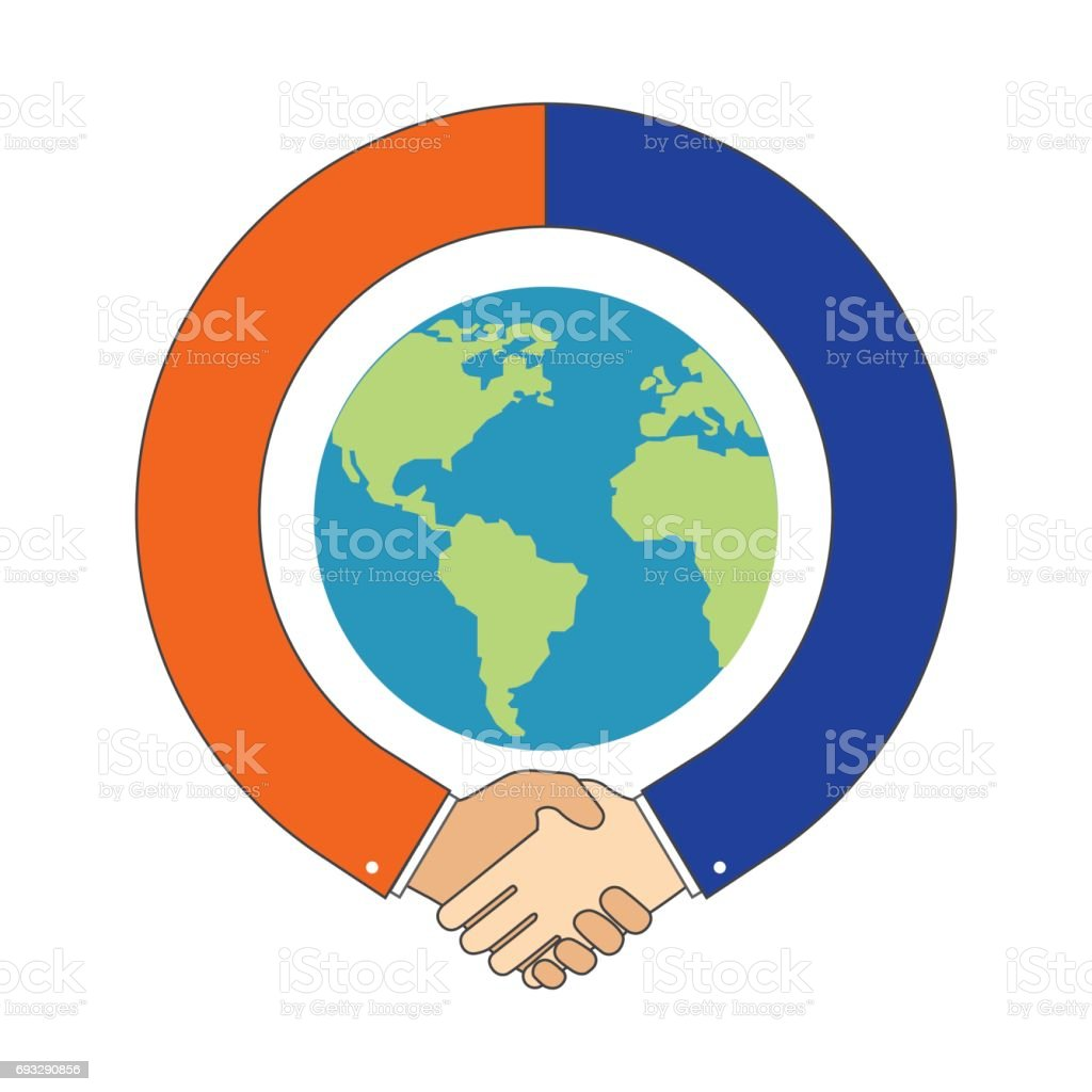 Handshake around Globe, International Partnership symbol. vector art illustration