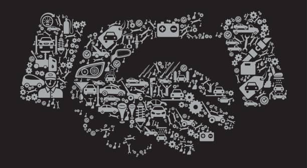 bildbanksillustrationer, clip art samt tecknat material och ikoner med handshake auto reparera bilar och automotive vector ikon bakgrund - wheel black background