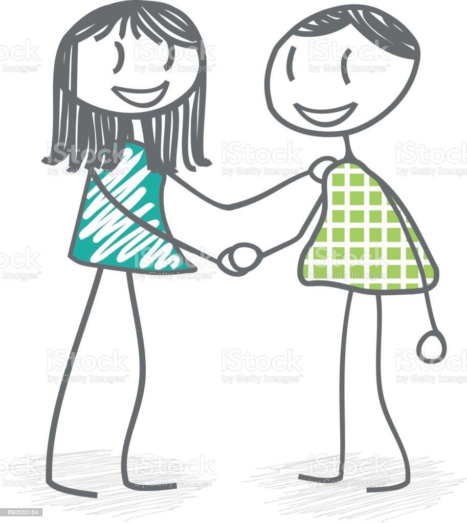 Handshake between two people vector art illustration