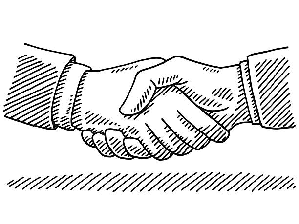 Handshake Business Agreement Drawing Hand-drawn vector drawing of a Handshake Business Agreement. Black-and-White sketch on a transparent background (.eps-file). Included files are EPS (v10) and Hi-Res JPG. business stock illustrations