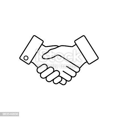 Handshake business icon, contract agreement flat web icon, vector.