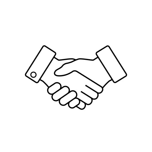 Handshake business icon, vector. Handshake business icon, contract agreement flat web icon, vector. dignity stock illustrations