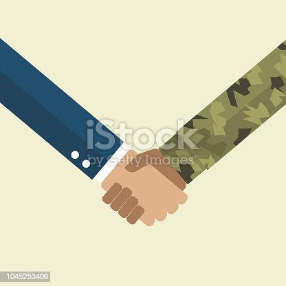 Handshake businessman and soldier. Vector illustration