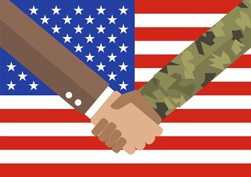 Handshake businessman and soldier